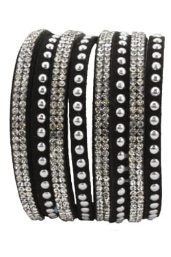 Black, Wrap Bracelet, Black & Silver