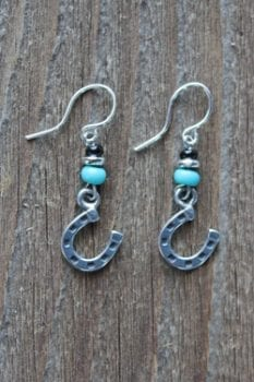 trisha waldron, handcrafted, earrings, horseshoe,