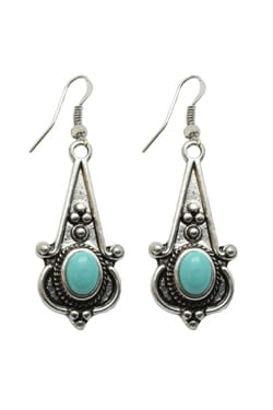 Magnesite Turquoise, Silvertone, Drop Earrings, Trisha Waldron Designs