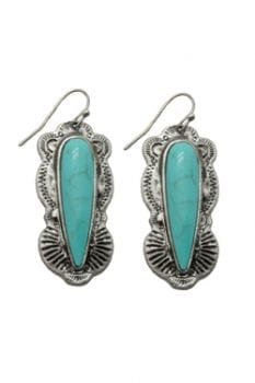 Silvertone & Magnesite Turquoise Western Earring